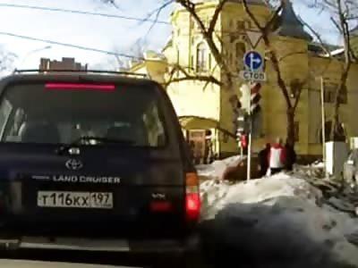 Car Destroys Pedestrians Walking on the Sidewalk..