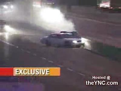 Police Car Smashes Car Against Rail