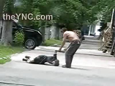 Awww...Drunken Husband Drags his Drunker Wife down the Street