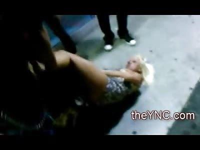 Hot Blonde in 4 Inch Heels Puts Opponent in a Scissor Lock in Street Fight