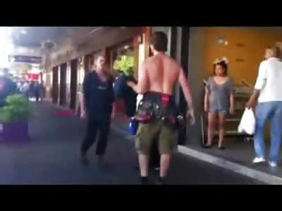 Drunk Dreadlocks Man KO'd on the Sidewalk (watch full video)