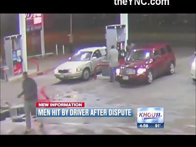 Crazy Psycho Bitch Runs Down 2 Dudes at a Houston Gas Station