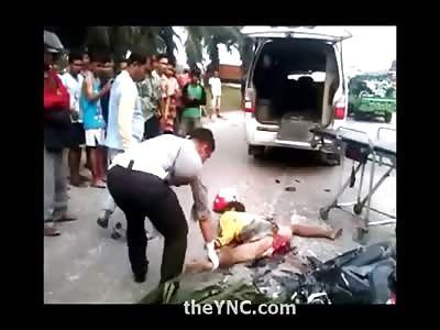 Disgusting Video of Motorcyclist Split in Half like a Wish Bone