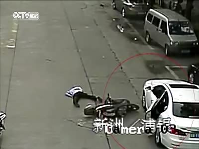 CYCLIST FRACTURES LEG AFTER RAMMING INTO OPEN CAR DOOR