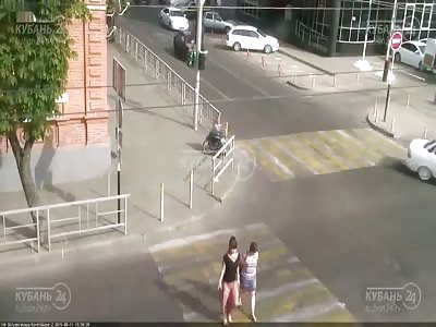 Car Hits Elderly Woman on a Wheelchair