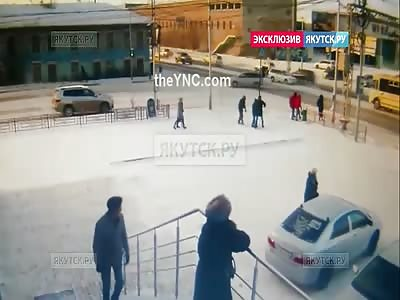 CCTV: Car Slams into Three People.