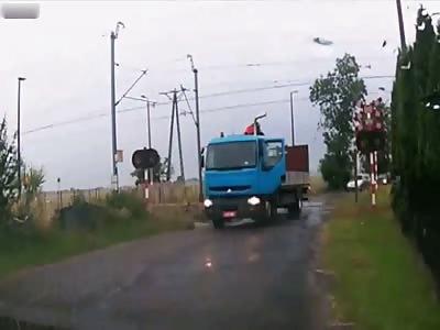 Train hits a truck on rail crossing