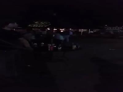 Throwing random beer bottles into a crowd