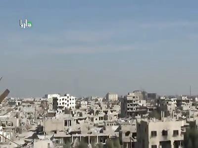 --Syrian- intense Airstrike hits terrorists -in Darayya- (close sight)
