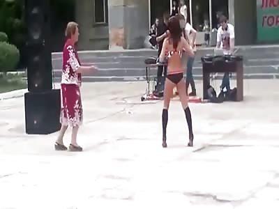 Granny VS Stripper is crazy dance-off.
