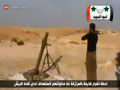 Mortar detonates inside the tube, killing terrorists.