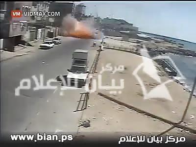 Israeli warplane lands a direct hit on a car in Gaza.
